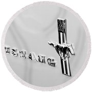 1967 Ford Mustang Side Emblem Round Beach Towel
