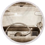 1967 Lincoln Continental Steering Wheel Round Beach Towel