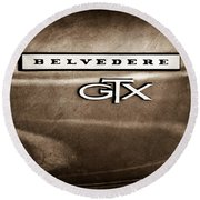 1967 Plymouth Gtx Belvedere Emblem Round Beach Towel
