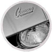 1969 Chevrolet Camaro Headlight Emblem Round Beach Towel