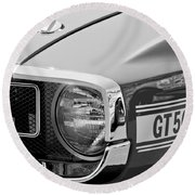 1969 Shelby Gt500 Convertible 428 Cobra Jet Grille Emblem Round Beach Towel by Jill Reger
