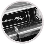 1970 Dodge Challenger Rt Convertible Grille Emblem Round Beach Towel
