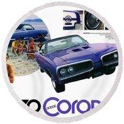 1970 Dodge Coronet Super Bee Round Beach Towel