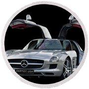 Mercedes Benz S L S  Gull-wing Round Beach Towel