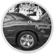 2010 Plymouth Superbird Bw  Round Beach Towel