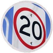 20km Road Sign Round Beach Towel