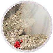 A Climber Descending Longs Peak Round Beach Towel
