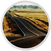 A Country Road In The Central Valley Round Beach Towel