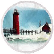 A Day At The Coast Round Beach Towel