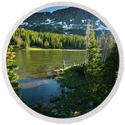 A Fly Fisherman Fishes A High Alpine Round Beach Towel