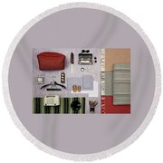 A Group Of Household Objects Round Beach Towel