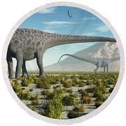 A Herd Of Diplodocus Sauropod Dinosaurs Round Beach Towel