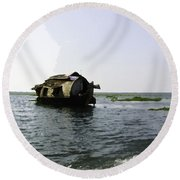 A Houseboat Moving Placidly Through A Coastal Lagoon In Alleppey Round Beach Towel