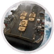 A Landing Craft Air Cushion Exits Round Beach Towel