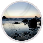 A Landscape Of Rocks On The Coast Round Beach Towel
