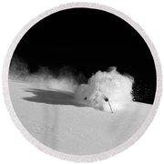 A Male Skier Skis Through Deep Powder Round Beach Towel
