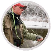 A Man Fly Fishing On The Cache La Round Beach Towel