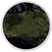 A Moss Covered Stone Inside The National Orchid Garden In Singapore Round Beach Towel