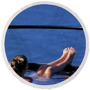 A Nude Woman In A Hot Spring Round Beach Towel