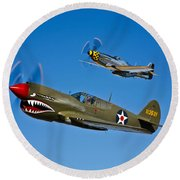A P-40e Warhawk And A P-51d Mustang Round Beach Towel