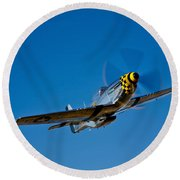 A P-51d Mustang Kimberly Kaye In Flight Round Beach Towel