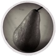 A Pear At An Angle Round Beach Towel