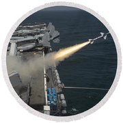 A Rim-7 Sea Sparrow Missile Is Launched Round Beach Towel