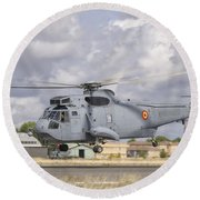 A Spanish Navy Sh-3d Helicopter Round Beach Towel
