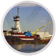 A Tough Old Tugboat Round Beach Towel