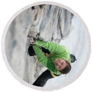 A Woman Climbs The Line 5.9 At Lovers Round Beach Towel
