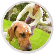 A Woman Gives Her Rhodesian Ridgeback Round Beach Towel