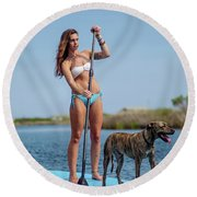 A Young Woman And Her Dog Sup Round Beach Towel