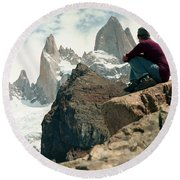A Young Woman Gazes At Cerro Fitzroy Round Beach Towel