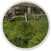 Abandoned Farm In Ireland Round Beach Towel