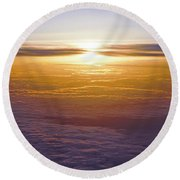 Above The Clouds Round Beach Towel