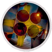 Abstract 3d Shapes  Round Beach Towel