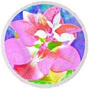 Abstract Colorful Plant Round Beach Towel