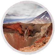 Active Volcanoe Cone Of Mt Ngauruhoe New Zealand Round Beach Towel