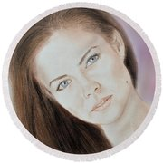Actress And Model Susan Ward Blue Eyed Beauty With A Mole Round Beach Towel