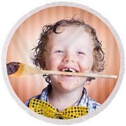 Adorable Little Boy Cooking Chocolate Easter Cake Round Beach Towel