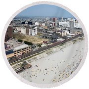 Aerial Of Downtown Atlantic City Round Beach Towel