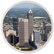 Aerial Of Downtown Indianapolis Indiana Round Beach Towel