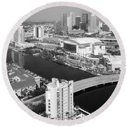 Aerial Of Downtown Tampa And Harbour Island Round Beach Towel