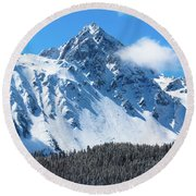 Aerial Of Mount Sneffels With Snow Round Beach Towel