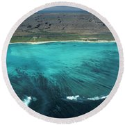 Aerial Of Ningaloo Reef And Cape Range Round Beach Towel