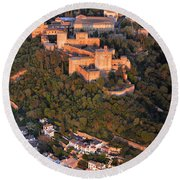 Aerial Photo  Alhambra And Albaycin In Granada Round Beach Towel
