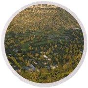 Aerial View Of Bellevue Skyline Round Beach Towel