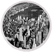 Aerial View Of Central Park Round Beach Towel