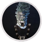 Aerial View Of Passenger Ferry Boat Going To Southworth Puget So Round Beach Towel