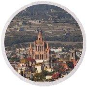 Aerial View Of San Miguel De Allende Round Beach Towel